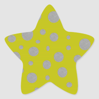 Gold with Silver Polka Dots Star Sticker