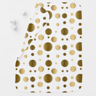 Gold With White Random Polka Dots Pattern Swaddle Blanket