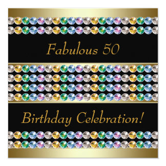 Gold Womans 50th Birthday Party Card