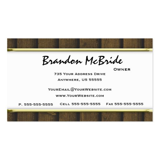 Gold Wood Deer Taxidermy Business Cards (back side)