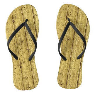 Gold Wood Flip Flops