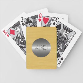 Gold Wood Grain Texture Modern Stainless Metal Bicycle Playing Cards