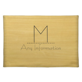 Gold Wood Grain Texture Monogram Placemat