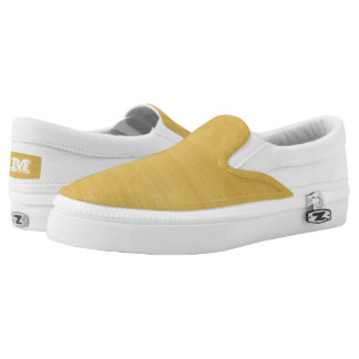 Gold Wood Grain Texture Slip-On Sneakers