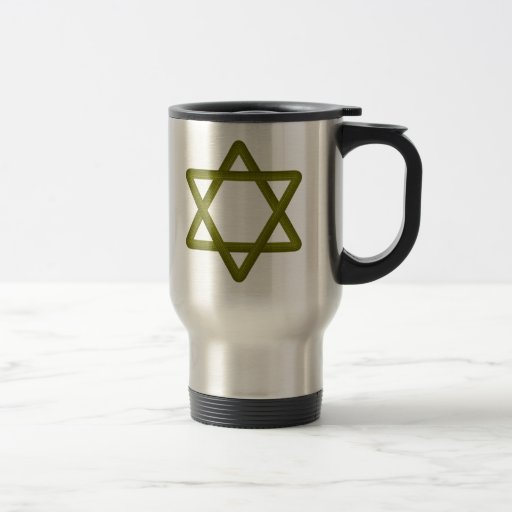 Gold Wood Star of David for Jewish Traditions 15 Oz Stainless Steel Travel Mug
