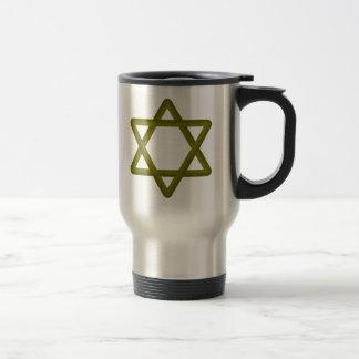 Gold Wood Star of David for Jewish Traditions Travel Mug