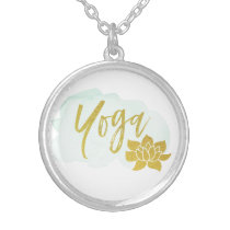 *~* Gold Word Yoga with Gold Lotus Silver Plated Necklace