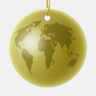Gold World Globe Ceramic Ornament
