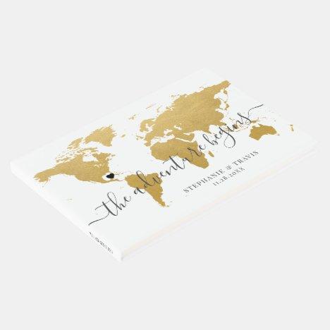 Gold World Map Adventure Destination Wedding Guest Book