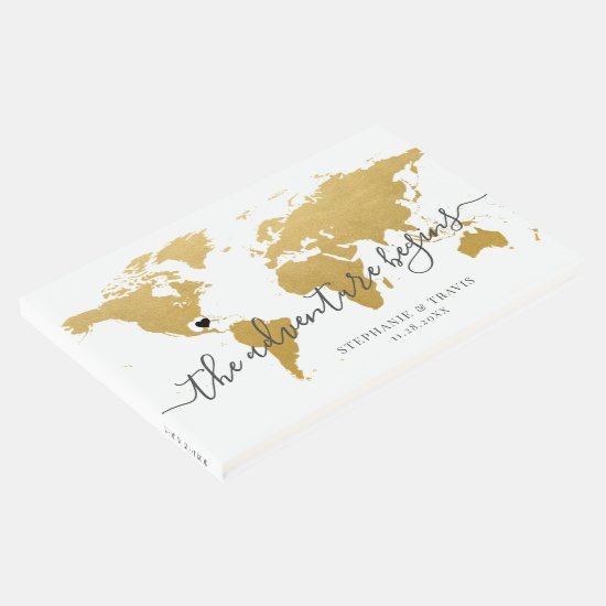 Gold World Map Adventure Destination Wedding Guest Book