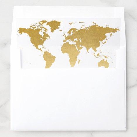 Gold World Map Custom Background Color Envelope Liner
