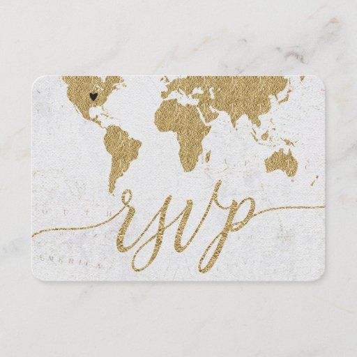 Gold World Map Custom Destination Wedding RSVP