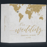 """Gold World Map Destination Wedding Photo Album 3 Ring Binder<br><div class=""""desc"""">Gold Foil World Map Destination Wedding Photo Album with MOVEABLE HEART LOCATION just click the customize further link to position your heart ~ Check my shop to see the entire wedding collection with this design!</div>"""