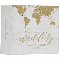 Gold World Map Destination Wedding Photo Album 3 Ring Binder