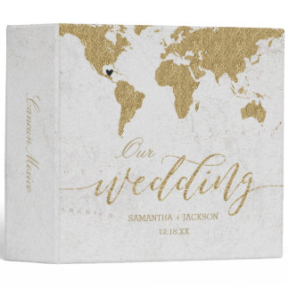 Gold World Map Destination Wedding Photo Album 3 Ring Binder