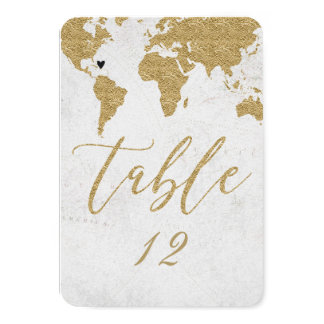 Gold World Map Destination Wedding Table Number