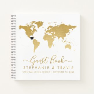 Gold World Map Heart Destination Guest Book