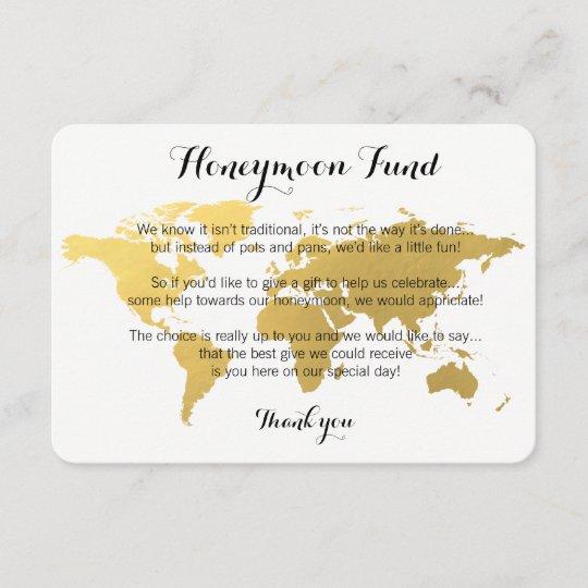 Standard Monetary Wedding Gift: Gold World Map Honeymoon Fund Request Wedding Card