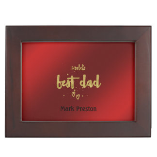 Gold World's Best Dad | Perfect Daddy Gift Memory Box