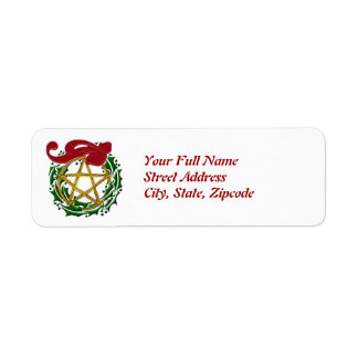 Gold Woven Pentacle & Holly Wreath Return Label