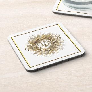 Gold Wreath Merry Christmas Coaster