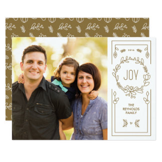 Gold Wreath Photo Holiday Card