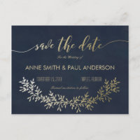 Gold wreath Save the Date Announcement Postcard