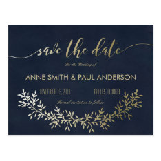 Gold Wreath Save The Date Postcard at Zazzle