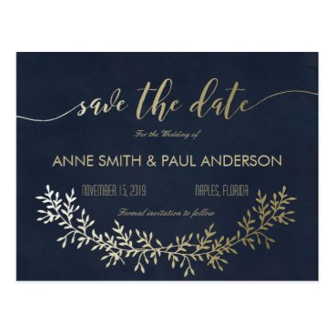 rusticwedding Gold wreath Save the Date Postcard