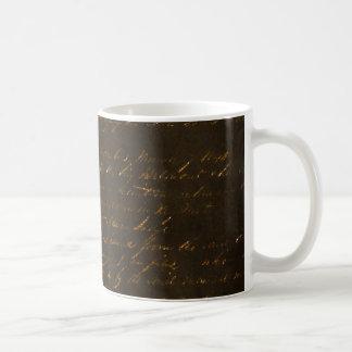 Gold Writing on Brown Background Coffee Mug
