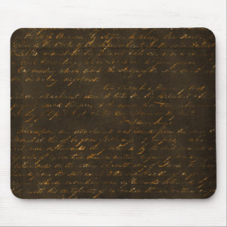 Gold Writing on Brown Background Mouse Pad