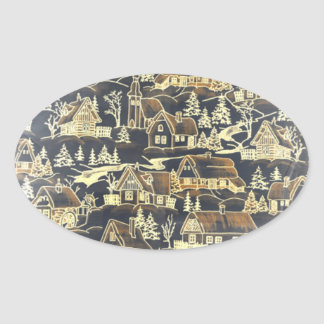 Gold Xmas Antique Vintage Merry Holiday Village Oval Sticker