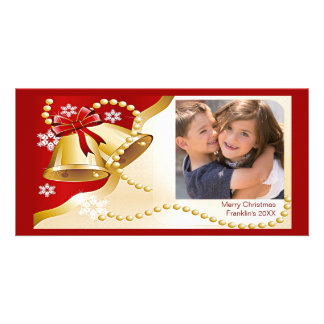 Gold XMas Bells, Beads and Snow & Photo Frame Card