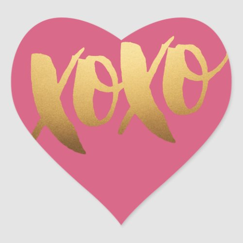Gold XOXO love Pink Heart Stickers