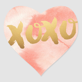 Gold XOXO love Pink watercolor Heart Stickers