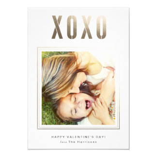 "Gold XOXO Valentine's Day Photo Card Personalized 5"" X 7"" Invitation Card"