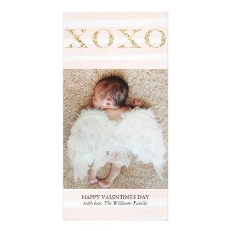 Gold XOXO Valentine's Day Photo Cards