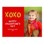 Gold XOXO | Valentine's Day Photo Postcard