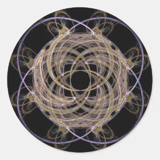 Gold Yarn Ball Fractal Art Classic Round Sticker