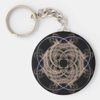 Gold Yarn Ball Fractal Art Basic Round Button Keychain