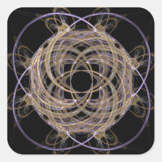 Gold Yarn Ball Fractal Art Square Sticker