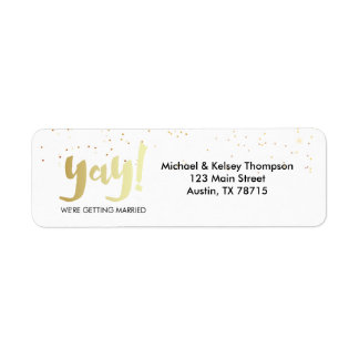 Gold Yay We're Getting Married Return Address Label