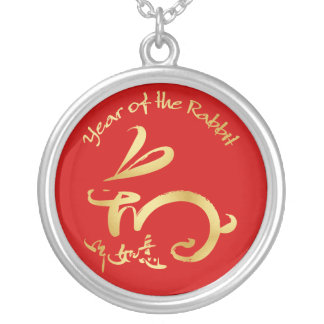 Gold Year of the Rabbit - Chinese New Year Round Pendant Necklace