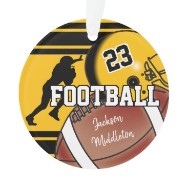 USA Themed Gold Yellow and Black Personalize Football Ornament