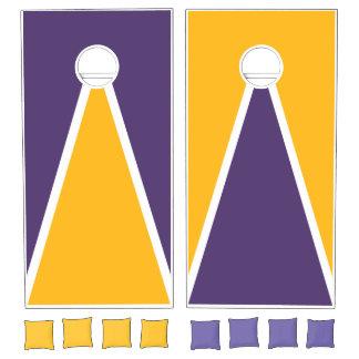 Gold Yellow and Dark Purple Cornhole Set