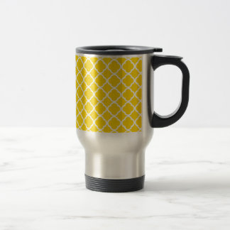 Gold Yellow And White Quatrefoil. Moroccan Pattern 15 Oz Stainless Steel Travel Mug