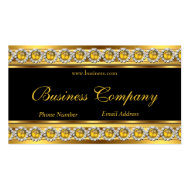 Gold Yellow Black Diamond Jewel Elegant Classy 2 Business Card Template