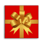 Gold yellow bow ribbon holiday gift square red CD Envelopes