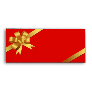 Gold yellow bow ribbon holiday red business logo envelope