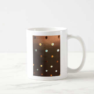 gold yellow bronze brown blue polka dots coffee mug
